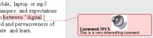 Showing a voice comment in the margin of the Word document