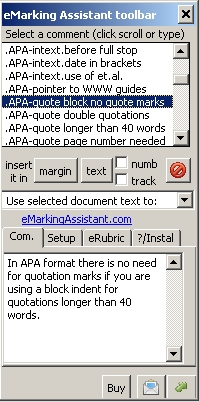 eMarking Assistant toolbar showing the teachers comment bank and the text of the selected comment.