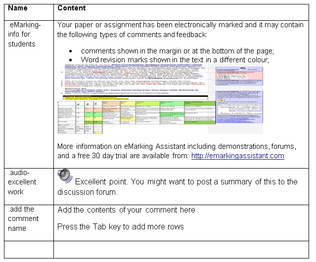 Showing two teacher grading comments in eMarking Assistant teacher comment bank