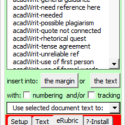 """Toolbar showing reusable comments, the """"use selected text"""" menu, and the setup, text, erubric, and install tabs"""