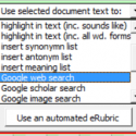 """""""Use selected text"""" menu of the eMarking Assistant toolbar"""