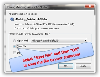 Save the file to your computer so you can install it